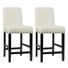 "Set of 2 Counter Stools 25"" Kitchen Breakfast Chairs Nailhead Barstools Beige"
