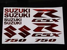 RED CHROME GSXR 750 10 PIECE  DECAL SET, suzuki gixxer fairing tank s tail