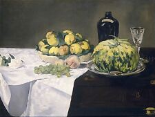 EDOUARD MANET FRENCH STILL LIFE MELON PEACHES OLD ART PAINTING POSTER BB5221A