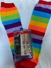 """Leg Avenue"" Rainbow Striped Leg Warmers"