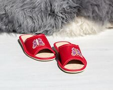 Womens Ladies Slippers Home Shoes Leather Suede Butterfly Red Kapcie ALL SIZES