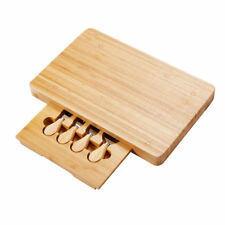 5PC Slide Out Cheese Board Stainless Steel Knife Slice Spreader Set Serving Tray