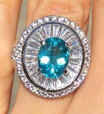 2.22ct Stunning Paraiba hue Natural Apatite Platinum Over Sterling Silver 6.25