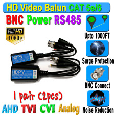 1 pair HD Balun CCTV BNC Video Data mic RS485 Power CAT5e/6 Protect 1080P 720P