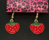 New Betsey Johnson Red Enamel Cute Fruit Strawberry Women Hook Dangle Earrings
