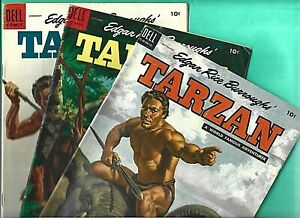 3 Tarzan #60 #61 #64 Dell 1954 Movie TV Gordon Scott 6.0 Jungle Ape Monkey Marsh