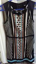 Women's Oasis black patterned dress, Size 8