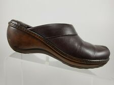 SOFT WALK Brown Leather Slip On Comfort Mule Clogs Wedges Womens 9.5M