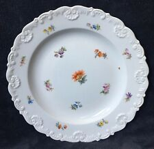 19th Century Antique Meissen Rococo Shell Edge Scattered Flowers Plate