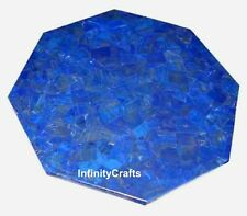 15 Inches Lapis Lazuli Stones Corner Table Marble Patio Side Table Top Inlaid