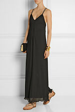 Alice+Olivia Bella Black Pleated Strappy Back Cocktail Maxi Dress.NWT Sz.10