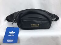 adidas Bags adidas Originals National Waist Pack Black Pu Leather//Gold One Size Agron Inc 977079