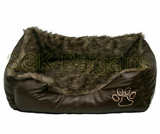 Brown SMALL Rex Leather & Fur Puppy Pet Dog Cat Nesting Bed Mat Basket Washable