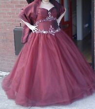 ball gown / prom dress / long dress / strapless / deep red