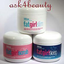 Lot of 3 Different Bliss Creams FatGirlSleep,FatGirlSlim,FatGirlScrub 2 oz/60ml