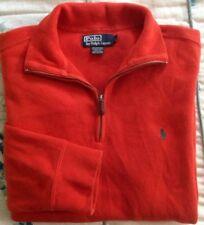 Polo Ralph Lauren Sweater Sz L 1/4 Zip Pullover Dark Orange Pony Logo Designer