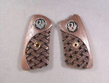 Ruger SP101 Walnut Grip Panel Inserts  w/Carved Basketweave Design & Medallions