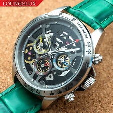 Mens Automatic Mechanical Watch Date Day Watch Silver Black Green Deployant