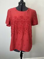 Boden Red Cotton Embroidered Top/Blouse Size 10 EUC