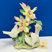 Capodimonte porcelain flower sculpture Italy figurine vtg doves napoli pillar