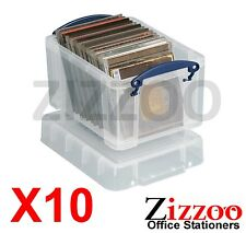 10 X 3L REALLY USEFUL STORAGE BOXES IN CLEAR PLASTIC WITH LID BOX