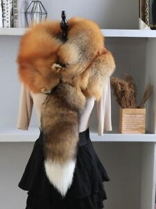 Unisex Natural Winter Scarf Genuine 100% Real Fox Fur Collar Scarves Wraps Gift
