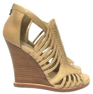 L.A.M.B. Kaylee Wedge Sandals Tan Leather Open Toe Womens Size 8.5M