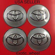 TOYOTA 4Pcs Silver 65mm Domed Car Emblem Wheel Center Hub Cap Decals Stickers