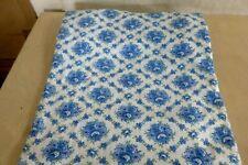 Schöner alter Baumwoll Stoff Nadeldruck blaue Bauernblumen  3,60m x 1,45m