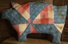 Primitive Petite Pig Quilted Handmade Cupboard Tuck Navy Red
