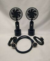 F8 Cordless Portable Neck Fan Wearable Cooling Air Fan with Dual Wind Head Black
