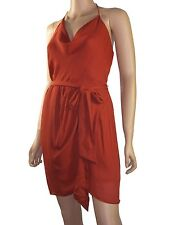 Haute Hippie Silk Cowl Halter Faux-Wrap  Mini Dress without Belt  $365 size L