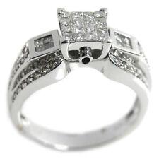 De Buman 0.838ct. Princes Cut Diamond Wedding Ring Size 7.25 in 14K White Gold