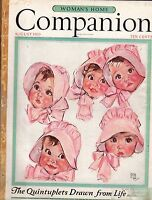 1935 Woman's Home Companion August-Dionne Quint-Maud Tousey Fangel;Ford Roadster