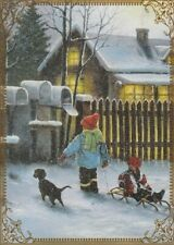 Modern Wide Linen Xmas P17 Playing In Snow Swap Playing Card