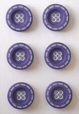 6 Stitched Edge 18mm Trimits Buttons in 10 Colour Choices Purple