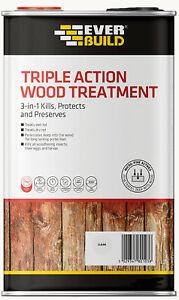 EVERBUILD 2.5L Triple Action Wood Treatment Dry & Wet Rot Kills Woodworm LJUN02