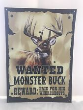 Wanted Monster Buck Reward Metal Sign Tin Vintage Buck Skull Garage Bar Rustic
