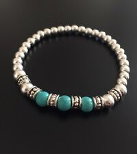 Sterling Silver Bracelet With Turquoise Gemstone. Sterling Silver Bracelet