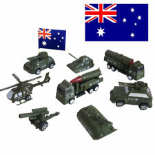 8pcs AU Military Vehicles Armour Battle Tank Truck Helicopter Pull Back Diecast