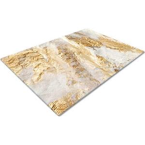 Glass Chopping Cutting Cutting Board Work Top Saver Large Gold White Design