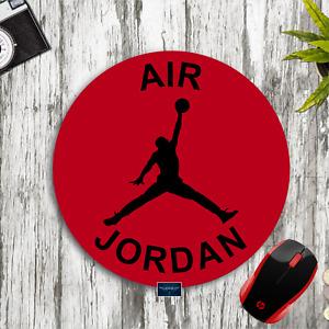 AIR JORDAN RED & BLACK CUSTOM ROUND MOUSE PAD DESK MAT HOME SCHOOL OFFICE GIFT