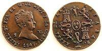 Spain-Isabel II. 2 Maravedis. 1847. Segovia. EBC/XF. Cobre. 2,5 g. Perfecta