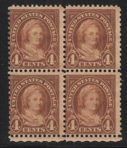 1927 Sc 636 MNH fresh OG block of 4 brown 4c Martha Washington CV $12 (A