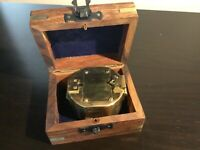 Solid brass nautical Compass in solid oak with brass inlays Stanley London