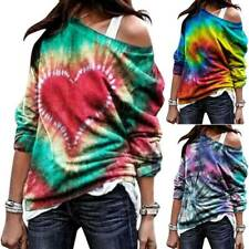 Womens Tie-Dye One Shoulder Tops Ladies Casual Loose Pullover Blouse T-Shirt