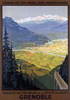 "Vintage Illustrated Travel Poster CANVAS PRINT Grenoble France 16""X12"""