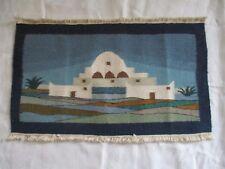 Tapisserie ancienne Marabout hand made, Laine et coton Tunisie artisanat TBE 200