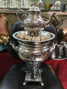 Authentic Turkish Handmade Handcrafted Copper Charcoal Samovar Semaver Teapot