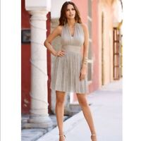Alexia Admor Womens Gold Metallic Halter Dress Size 6 Champagne Cocktail Party